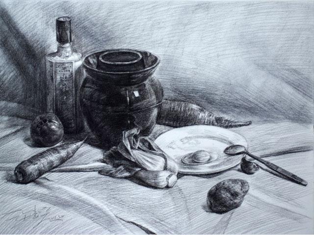 静物素描作品-陶罐类