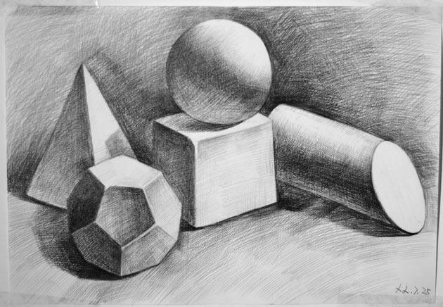 学生静物素描几何体作品